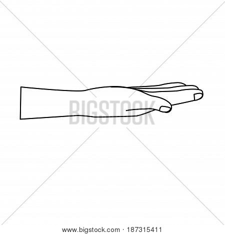 line nice hand with all fingers and nails, vector illustration