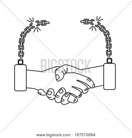 line nice hands together like friendship with chains, vector illustration
