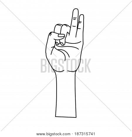 line hand with pinky and ring finger up symbol, vector illustration