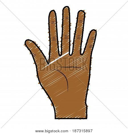 nice hand with all fingers and palm, vector illustration