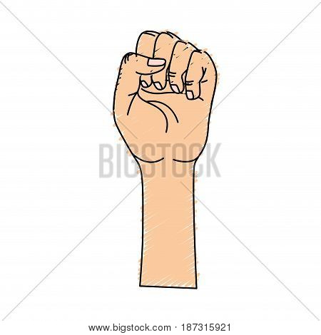 nice hands fist up celebrating, vector illustration