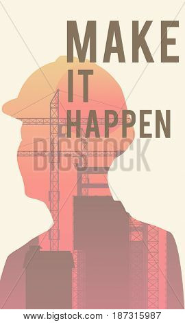 Make it Happen Word  Graphic Illustration