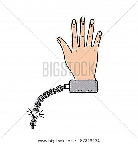 cute hand with metallic chain, vector illustration design