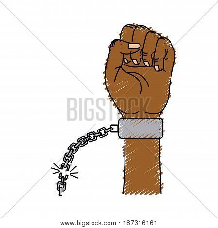 nice hands fist up with metallic chain, vector illustration