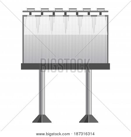 Big monochrome empty metal banner for advertisement with bright upper illumination and automatic change mode, that usually placed near highways isolated vector illustration on white background.