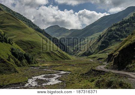 Caucasus Mountains, Canyon Of Argun. Road To Shatili , Georgia, Europe