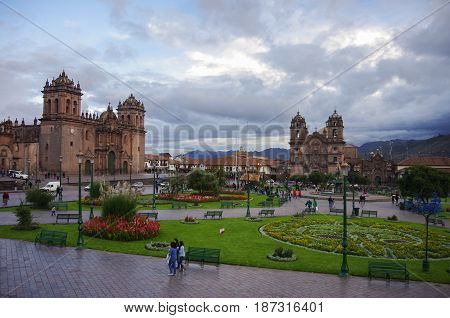 Cathedral Basilica of the Assumption of the Virgin and Catedral Iglesia de la Compania de Jesus en Plaza de Armas in Cusco old city Peru