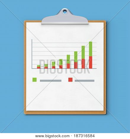 Vector illustration of business concept with clipboard finance graph or productivity chart