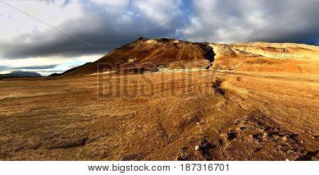 Otherworldly and barren geothermal landscape of Hverir Iceland