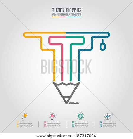 Education Infographics Template With Graduation Cap And Pencil Icon.