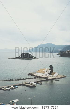 Vlacherna Monastery And Mouse Island On Corfu, Pontikonisi Island. Corfu, Greece