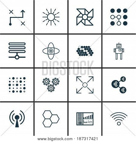 Set Of 16 Machine Learning Icons. Includes Wireless Communications, Solution, Hive Pattern And Other Symbols. Beautiful Design Elements.