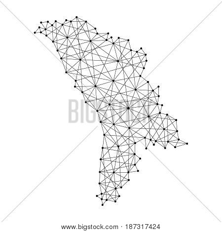 Map of Moldova from polygonal black lines and dots of vector illustration