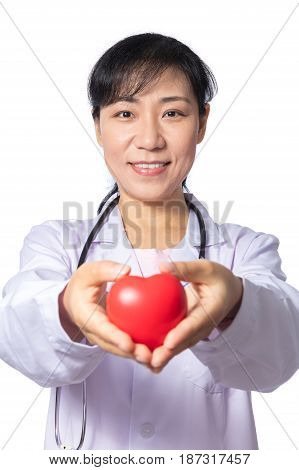 Asian Female Doctor Holding Red Heart With Stethoscope