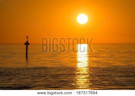 Beautiful sunset over the sea at Frankston beach suburb of Melbourne, Australia.