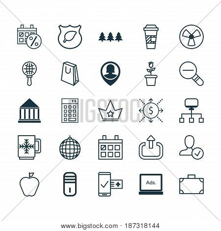 Set Of 25 Universal Editable Icons. Can Be Used For Web, Mobile And App Design. Includes Elements Such As Confirm Profile, Zoom Out, Investment And More.