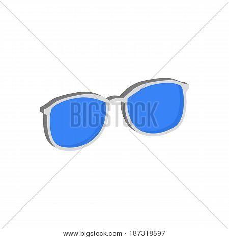 Blue Glasses, Eyeglasses Symbol. Flat Isometric Icon Or Logo. 3D Style Pictogram For Web Design, Ui,