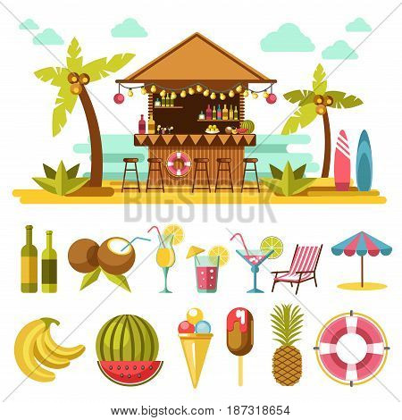 Beach entertainments and set of elements below isolated on white. Vector illustration in flat design of wooden shop with drinks and fruit near sea and colorful collection of food and things