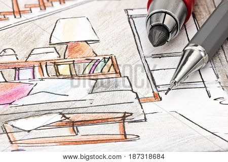 Designers Drawing Tools On Colored Draft Sketch Of Living Room Interior Macro