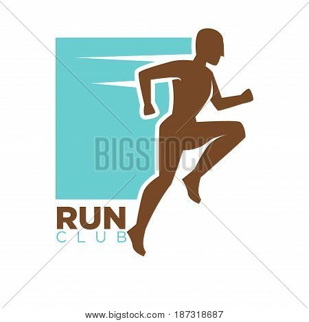 Run club logotype design with running man silhouette. Human athlete in motion isolated vector illustration on white background. Company emblem for sport gym, jogger promotes healthy way of life
