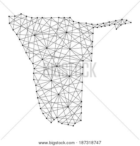 Map of Namibia from polygonal black lines and dots of vector illustration