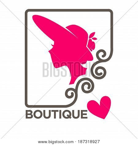 Woman in hat with broad brims profile pink silhouette in frame with curves vector illustration. Beauty salon minimalist promotional emblem, logotype design of ladies headwear isolated on white
