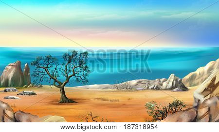 Rocky Shore with Lonely Tree Against Blue Sky in a Early Summer Morning. Digital Painting Background Illustration in cartoon style character.