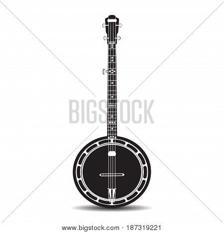 Vector illustration of banjo isolated on white background. Black and white banjo musical instrument in flat style.