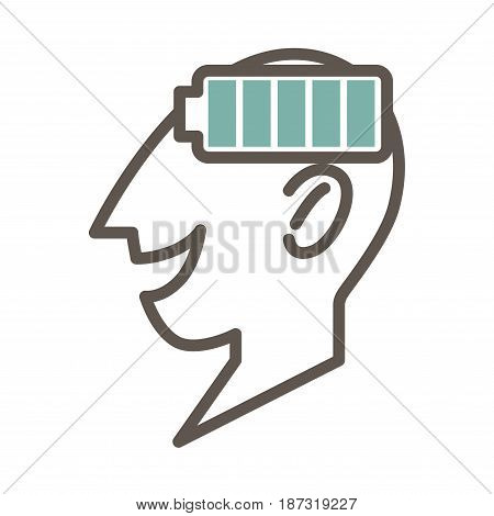 Outlined male face profile that smiles with open mouth and full battery symbol isolated minimalistic vector illustration on white background. Concept of mind full of new ideas and decisions