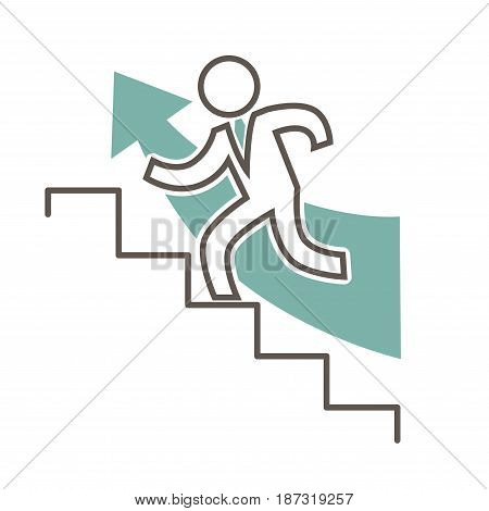 Outline male simple faceless character in suit and blue index arrow that runs up isolated on white background. Metaphorical vector illustration of promotion and success. Man wants to be successful