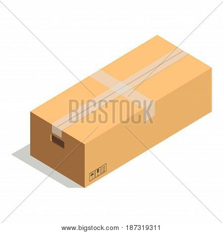 Taped cardboard rectangular box with handles on sides and small precaution signs such as keep away from moisture, fragile and top of product isolated vector illustration on white background.