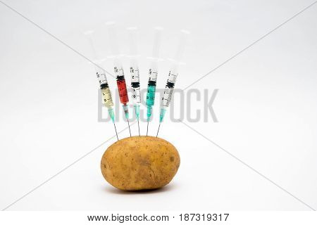 Gmo Concept On White Background With  Syringes And Potato