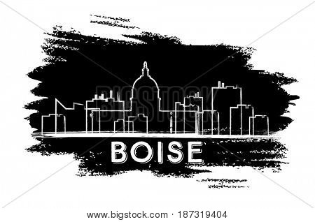 Boise Skyline Silhouette. Hand Drawn Sketch. Business Travel and Tourism Concept with Modern Architecture. Image for Presentation Banner Placard and Web Site.