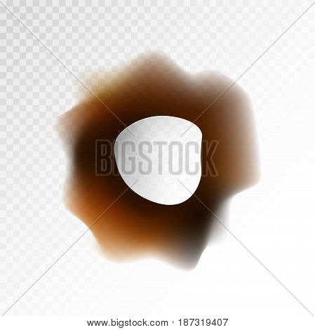 Big burnt through hole on transparent background isolated vector illustration. Dirty brown and black circle left by fire. Damaged surface with uneven orifice and dark traces of small flame spark.