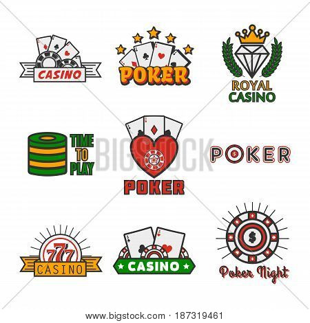 Set of vector illustration of different casino games isolated on white.