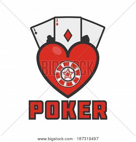 Vector illustration of heart with poker aces isolated on white.