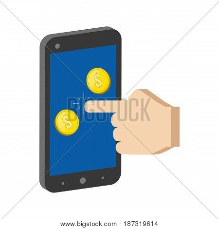 Golden Coins Jump Out Of Smartphone, Mobile Commerce Concept Symbol. Flat Isometric Icon Or Logo. 3D