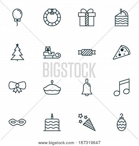 Set Of 16 Celebration Icons. Includes Firecracker, Sweet, Handbell Symbols. Beautiful Design Elements.