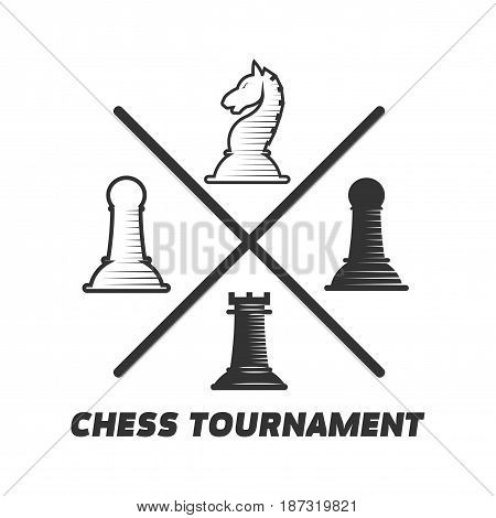 Chess tournament logotype with figures isolated on white. Four small playing pieces in spaces between two black crossed lines creating greeting label for game contest colorless vector illustration