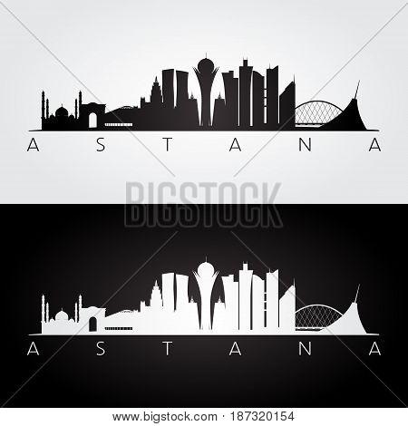 Astana skyline and landmarks silhouette black and white design vector illustration.