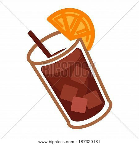 Vector illustration of glass of cocktail made with coke and served with orange half isolated on white.