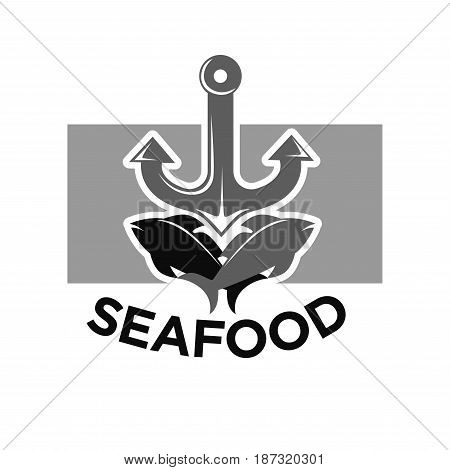 Seafood menu monochrome emblem with grey and black fishes that jump in opposite sides, big iron anchor, grey rectangle behind and big sign underneath isolated vector illustration on white background.