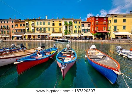 Lazise Colorful Harbor And Boats View