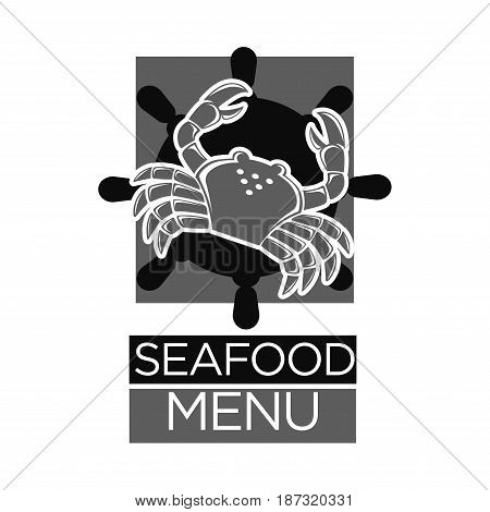 Seafood menu black and white emblem logo design. Grey crab over steering wheel dark silhouette, square behind and big sign underneath isolated monochrome vector illustration on white background.