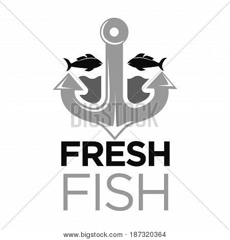 Fresh fish colorless logo with grey anchor and black water animals and inscription below. Vector illustration in flat design of company emblem presenting products of high quality from seaside.