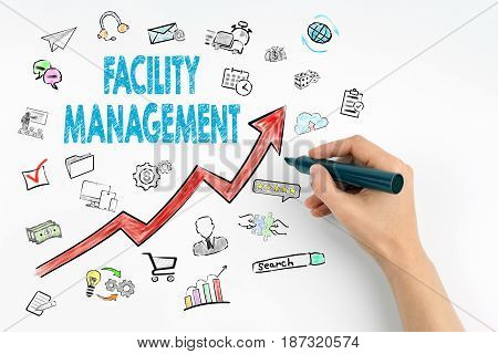 Facility Management Concept. Hand with marker writing.