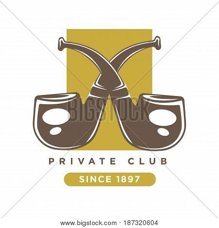 Private club logo with two brown crossed smoking pipes against dark vertical yellow rectangular isolated on white. Vector colorful label of organisation for real gentleman with inscription below