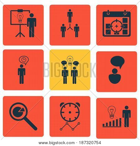 Set Of 9 Management Icons. Includes Opinion Analysis, Project Targets, Group Organization And Other Symbols. Beautiful Design Elements.