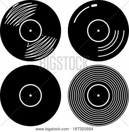 Vinyl Record Icon  Raster Illustration