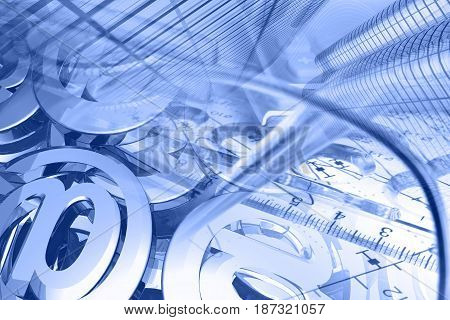 Business background in blues with glasses graph mail signs and buildings.